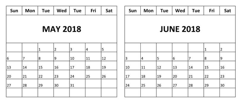 May 2018 Calendar, June 2018 Blank Calendar