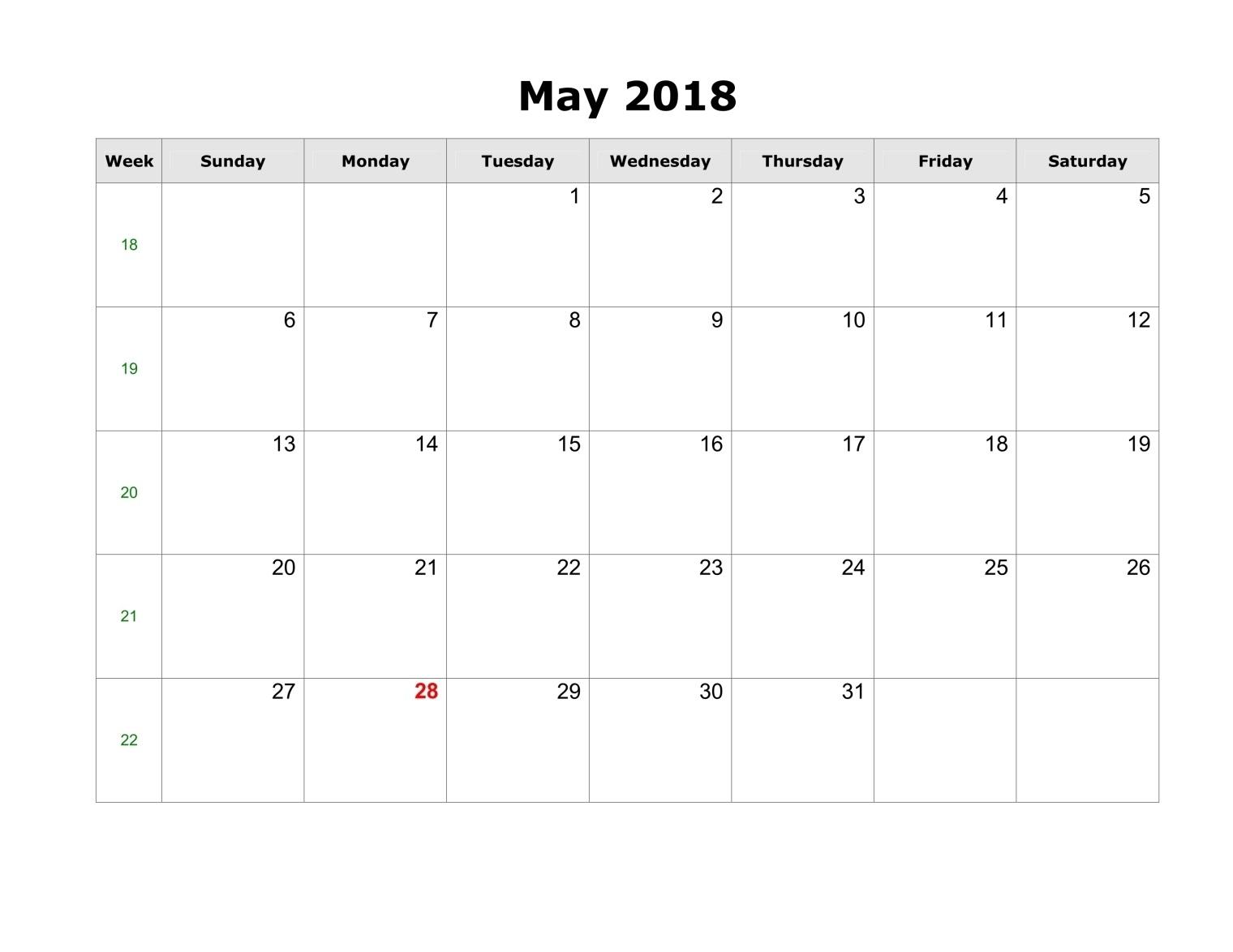 may 2018 calendars