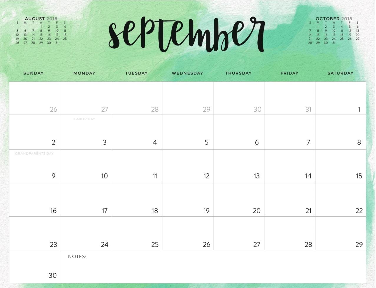 september 2018 calendar page word excel pdf printable template