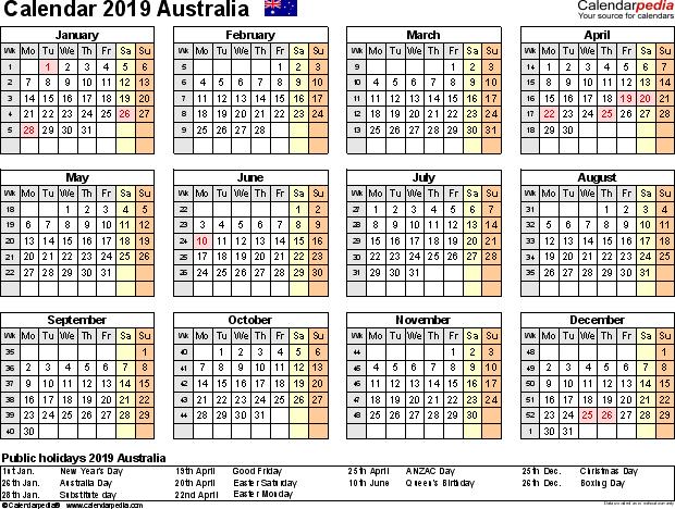 Holidays Calendar 2019 Australia