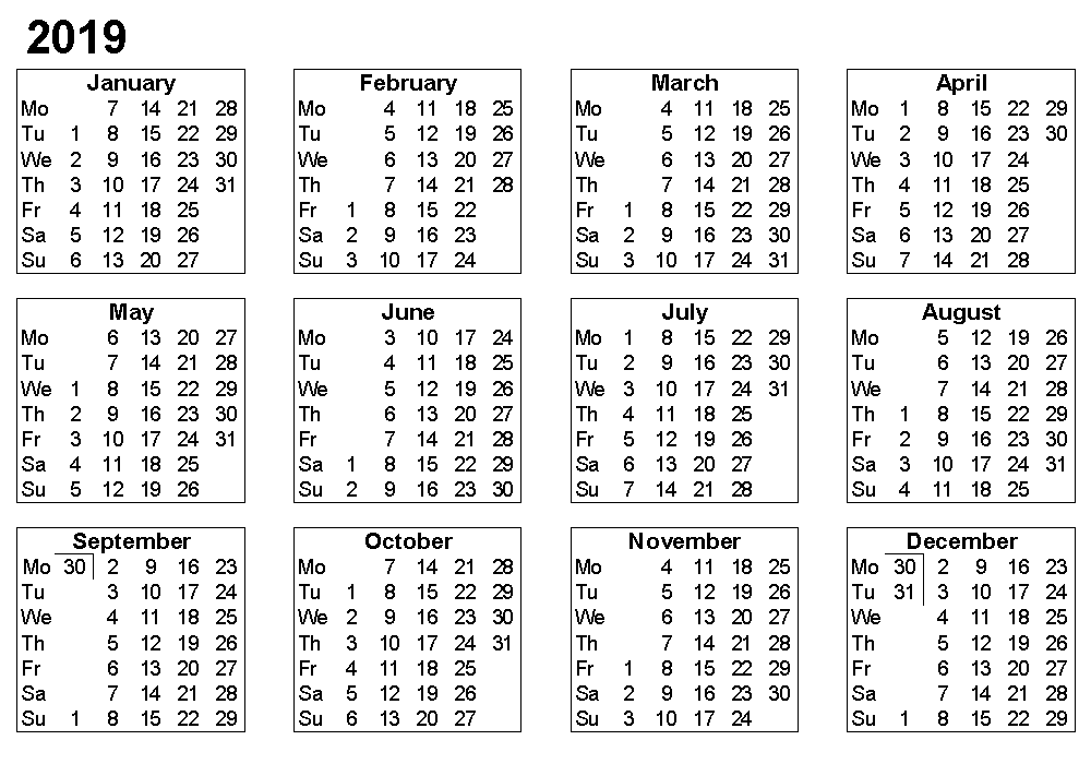 free 2019 yearly calendar