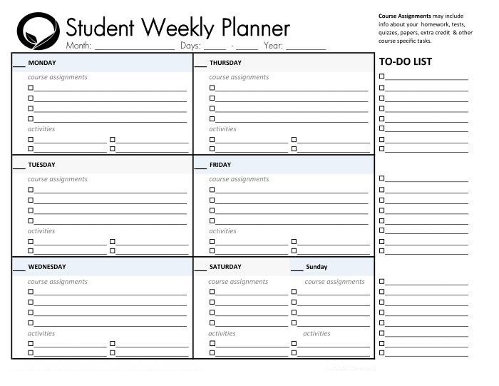 College Student Planners