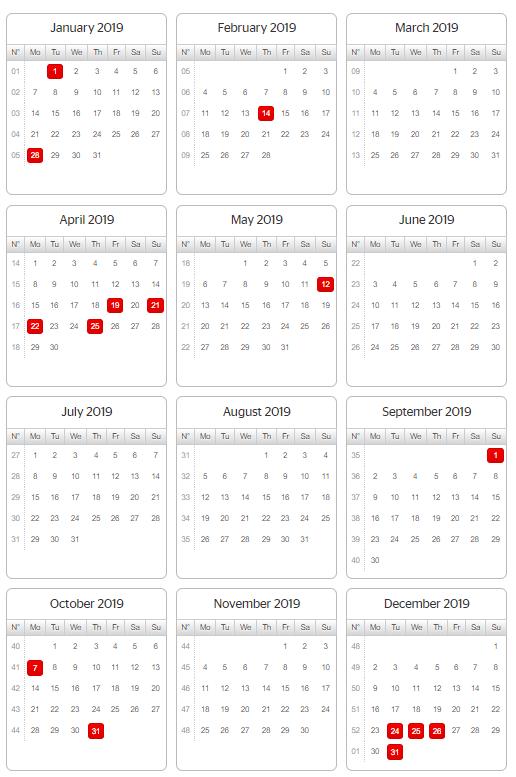 2019 year planner australia