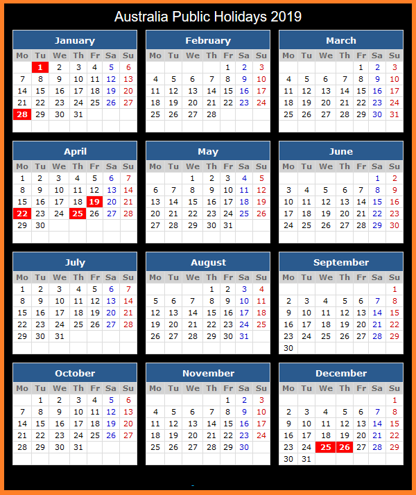 Yearly Calendar 2019 Template with Australia Holidays