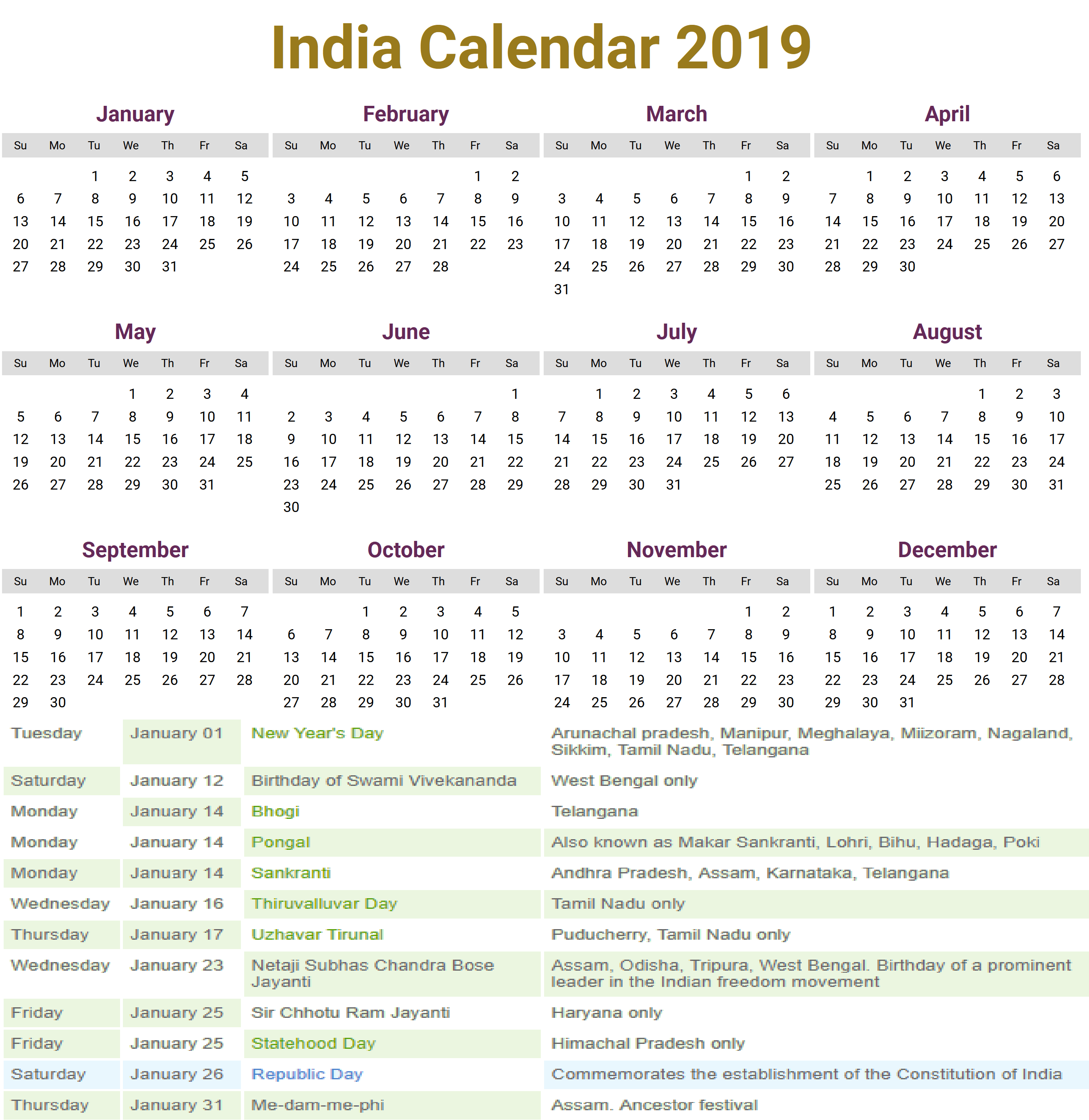 public holidays in indian 2019