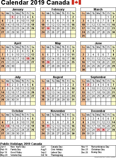 Printable Calendar 2019 with Canada Holidays
