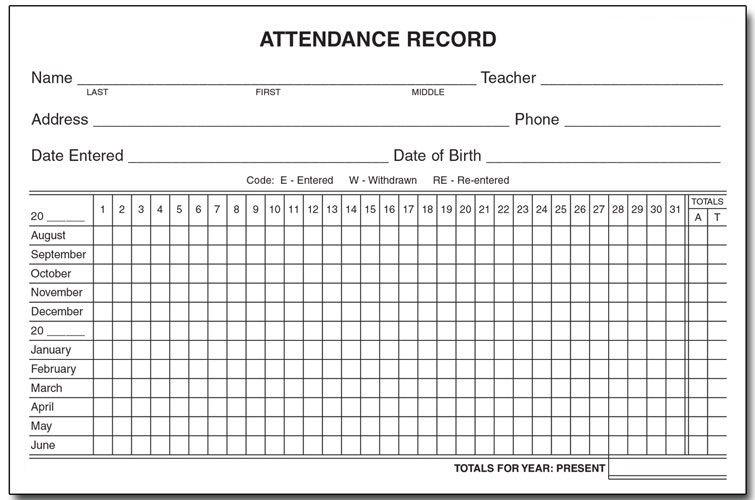 Printable Employee Attendance Calendar 2019
