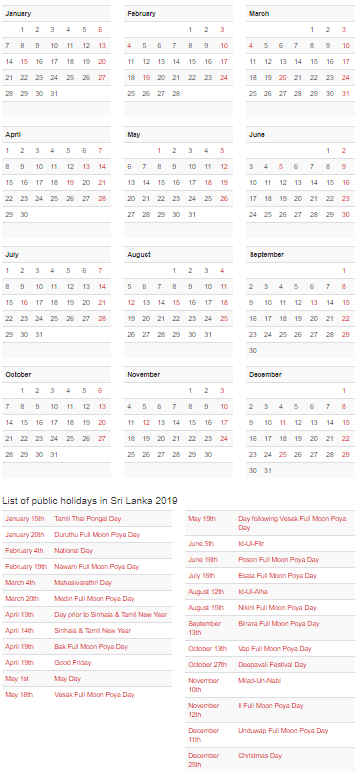 sri lanka calendar 2019 with holidays