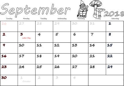 Holiday Calendar 2018 September USA