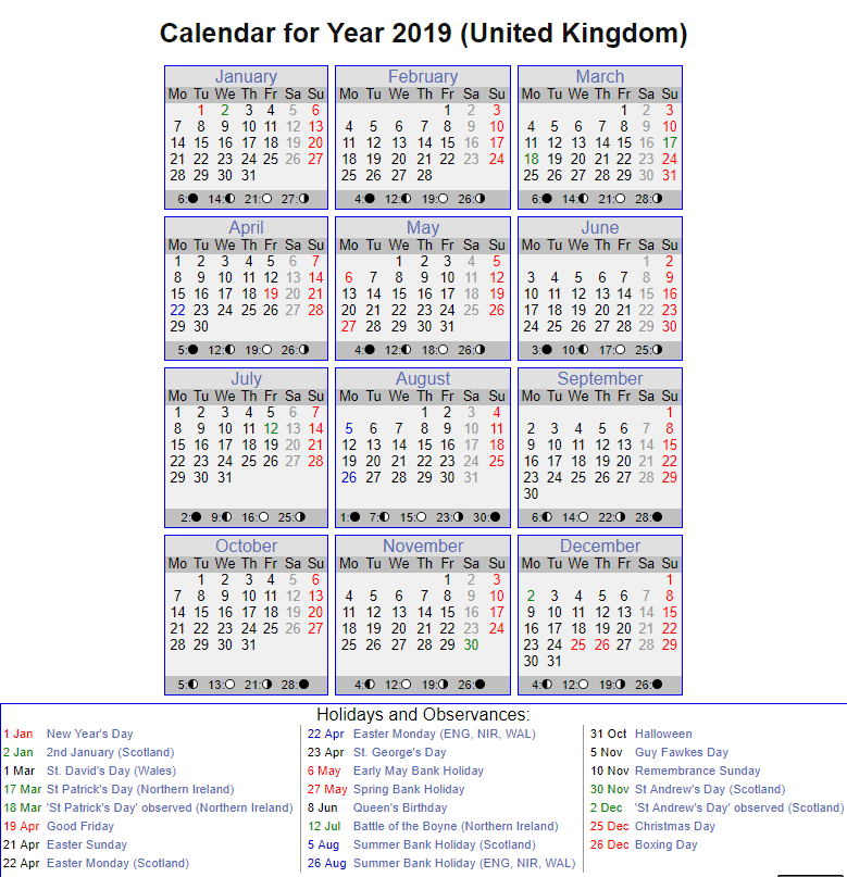 printable calendar with england holidays 2019