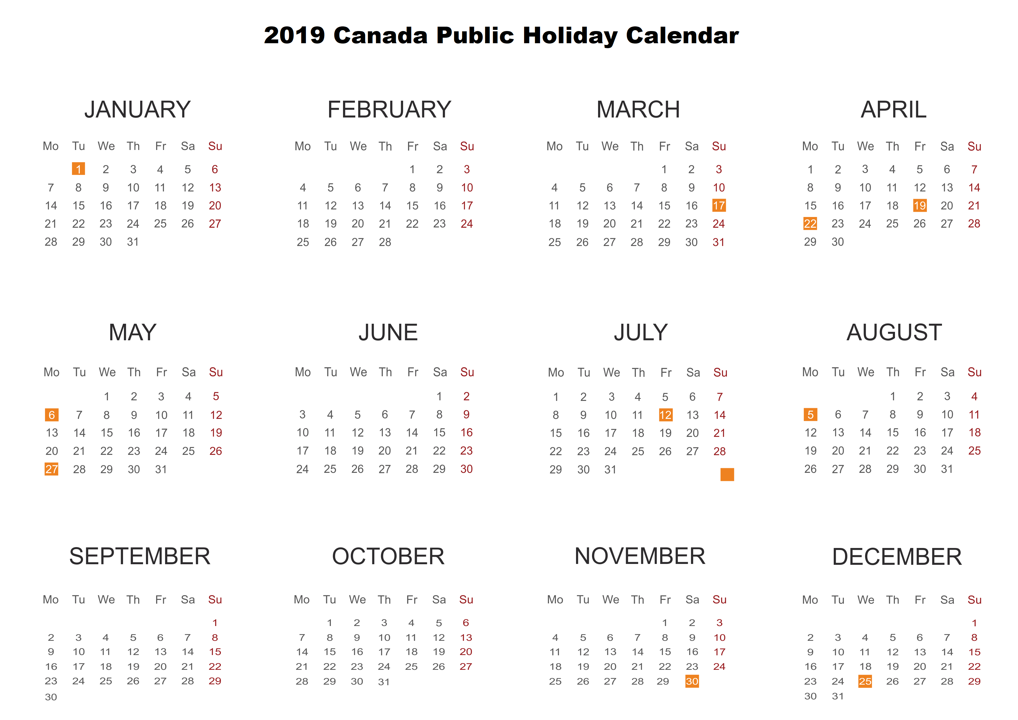 printable calendar 2019 with canada holidays