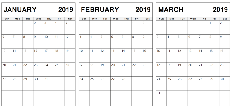 January February March 2019 Calendar