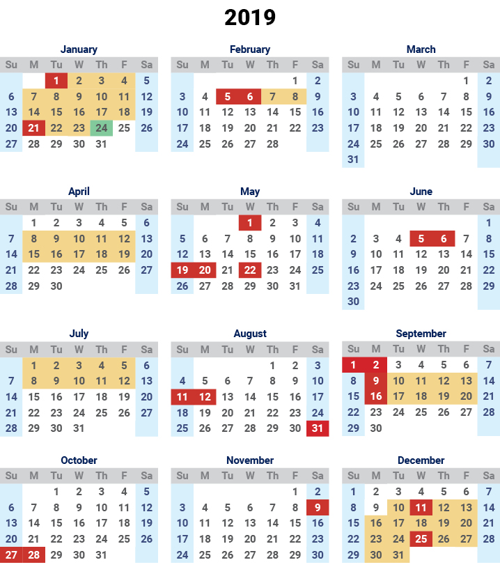 Malaysia School Holidays 2018 -19 Calendar