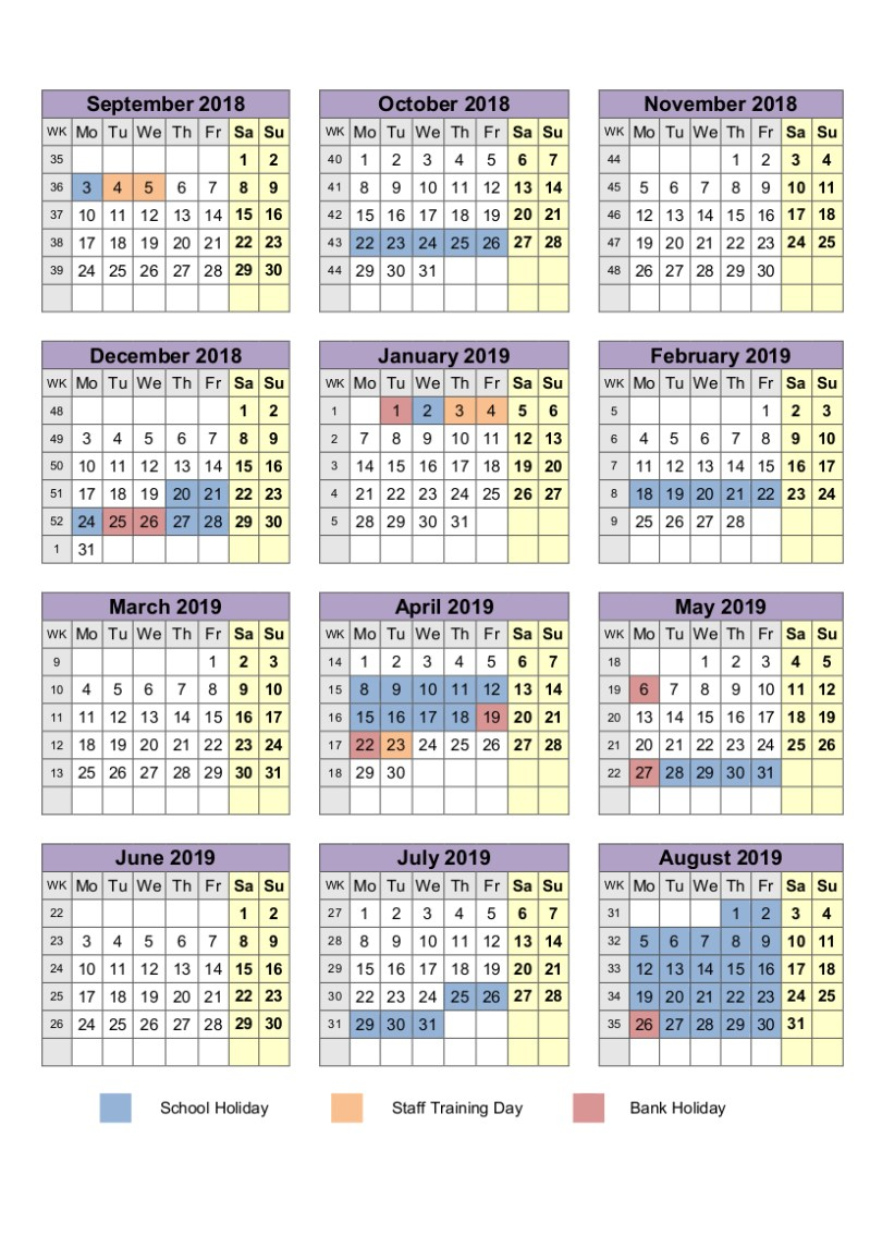 Printable Calendar 2019 QLD [Queensland] Template