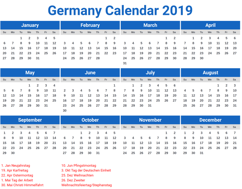 Germany Calendar Printable 2019