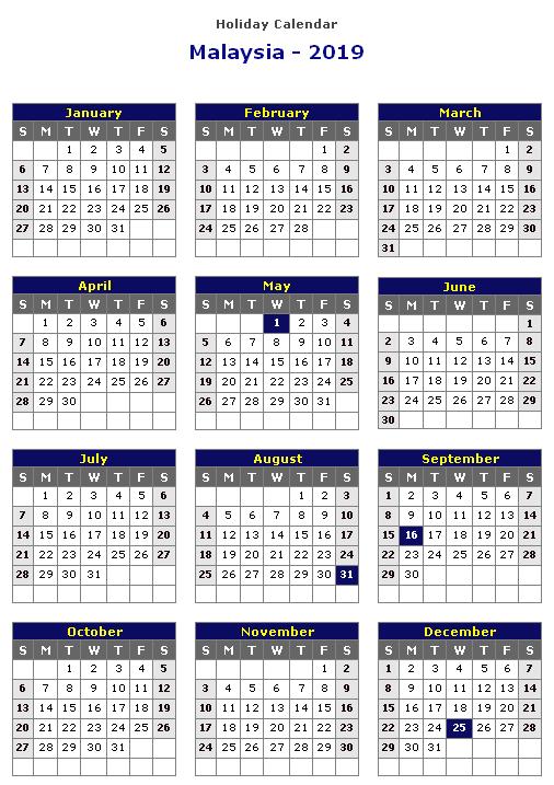 Printable Calendar 2019 with Malaysia Holidays