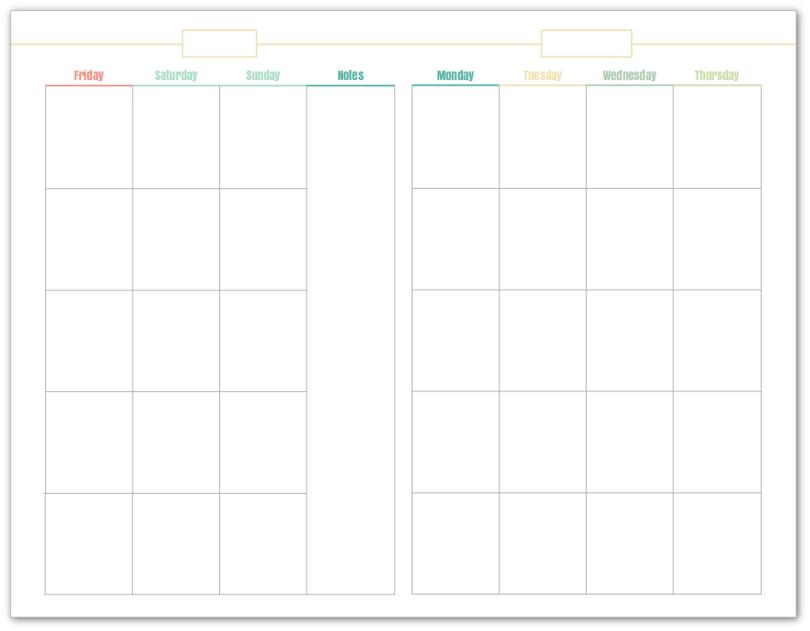 Undated Calendar Template