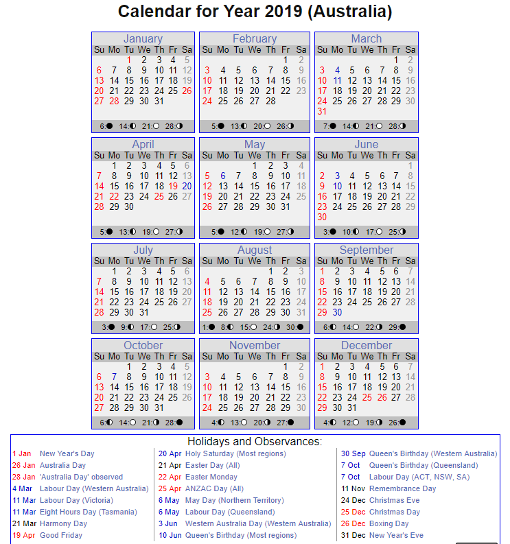 Calendar 2019 with NSW Holidays Printable