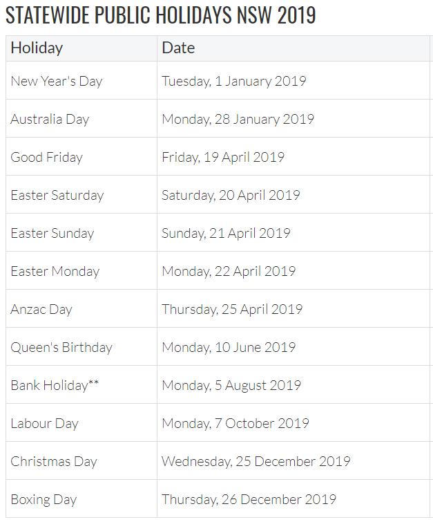 Calendar 2019 with NSW Holidays Printable
