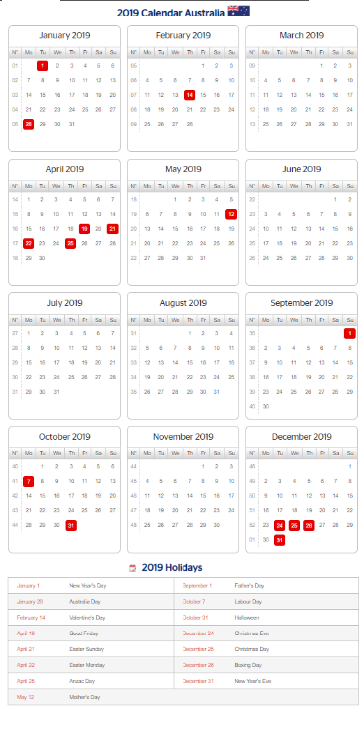 Editable Calendar 2019 with QLD Holidays