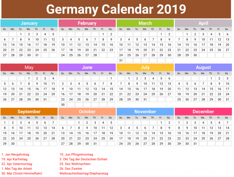 2019 Public Holidays in Germany