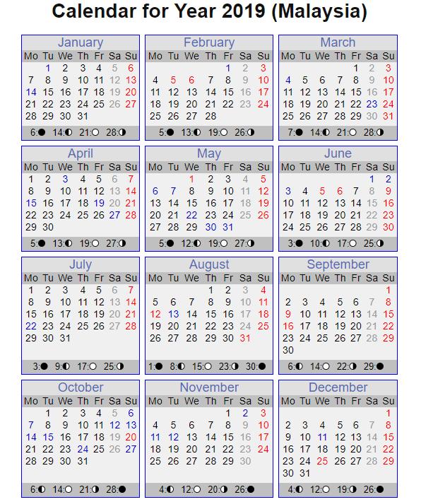 Malaysia Calendar 2019 Printable