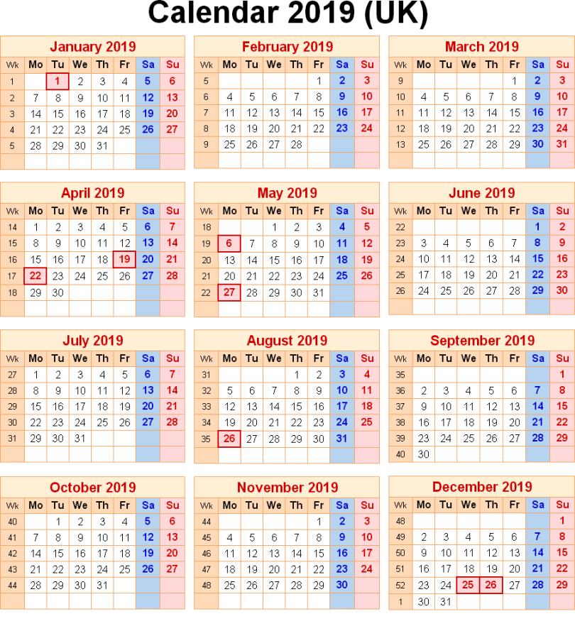 Printable Calendar 2019 with England Holidays