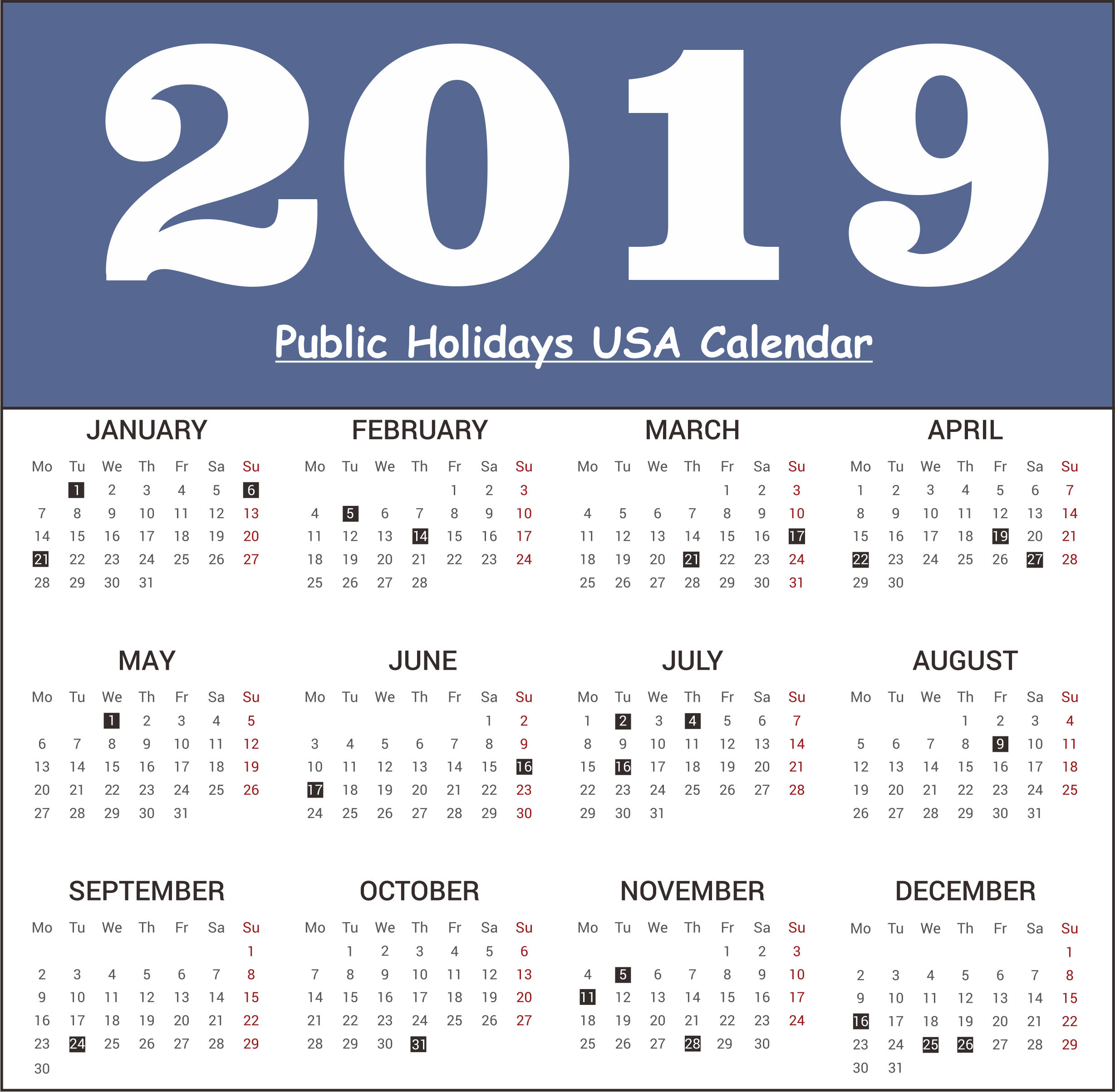usa united state of america public holiday 2019