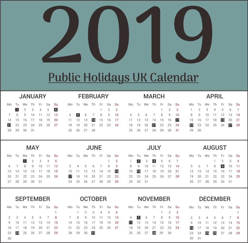UK Public Holiday 2019 Calendar