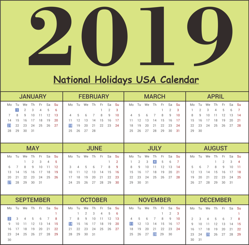 USA National Holidays 2019 Calendar