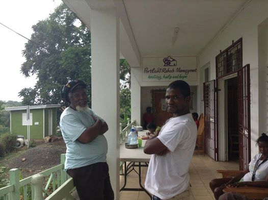 Residents outside of the PRM shelter