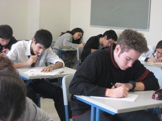 College students taking a test.