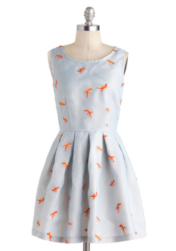Good As Goldfish Dress by Nishe - International Designer, Mid-length, Blue, Orange, Print with Animals, Embroidery, Pleats, Fit & Flare, Sleeveless, Scoop, Daytime Party, Critters, Top Rated