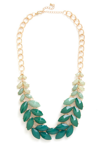 Berry Good Harvest Necklace in Greenery - Green, Multi, Solid, Cocktail, Girls Night Out, Beach/Resort, Boho, Statement, Urban, Travel, Darling, Gold, Exclusives, Variation, WPI