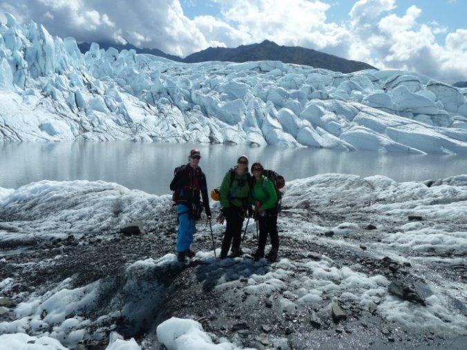 Taking a break on the Matanuska glacier in Alaska