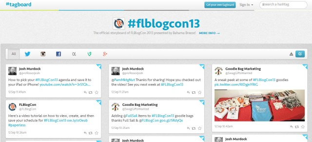 Tagboard FLBlogCon13 5 Social Networking Tips