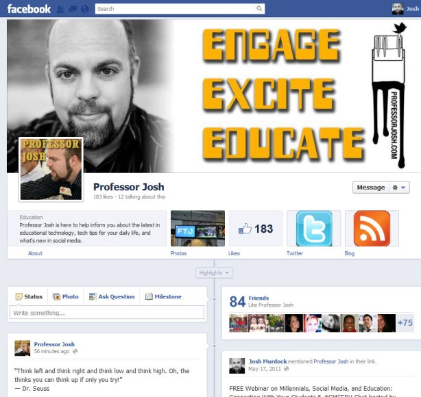 Facebook Timeline Pages Cover Photo Professor Josh