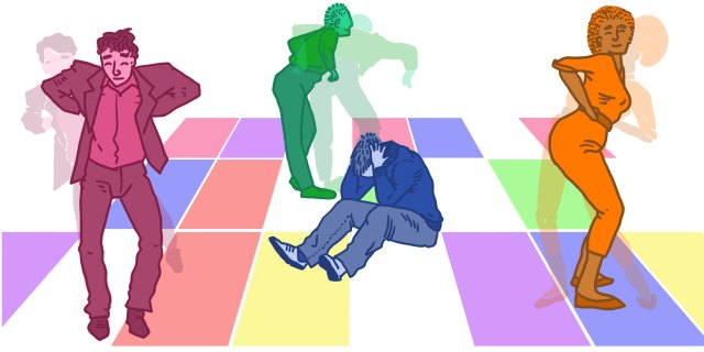 Illustratie van dansende mensen in een disco en 1 figuur op de vloer met handen op zijn hoofd