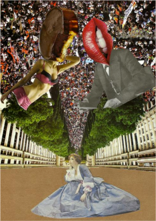 """In Wonderland (le rêve d'Alice)"", collage sur papier, 2012"