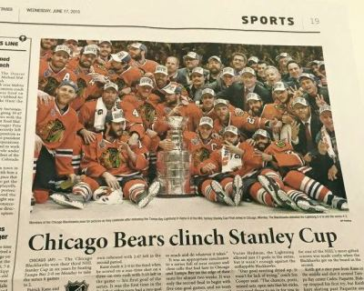 Newspaper claims the Bears won the Stanley Cup (Photo)
