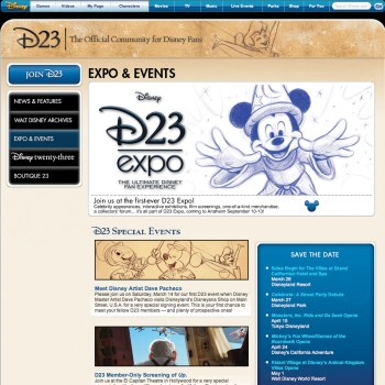 D23 - Disney twenty-three website