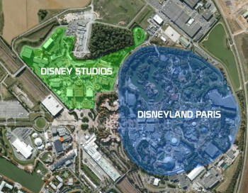 Area comparison of Disney Studios Paris and Disneyland Paris