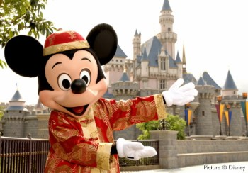 Mickey Mouse and Sleeping Beauty Castle at Hong Kong Disneyland
