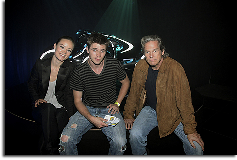 Olivia Wilde, Garrett Hedlund and Jeff Brides at the Tron Legacy Flynn's Arcade