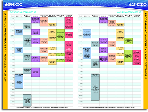 D23 Expo Schedule Page 2