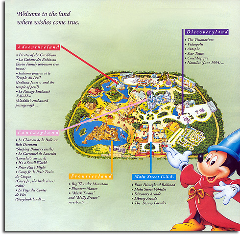 Map of Euro Disneyland Paris, 1994