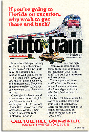 autotrain ad for Walt Disney World from 1977