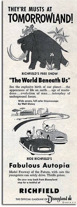 Ad for Richfield's The World Beneath Us and Autopia at Disneyland, 1957