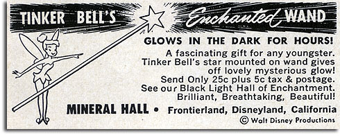 Ad for Tinker Bell's Enchanted Wand, Disneyland, 1957