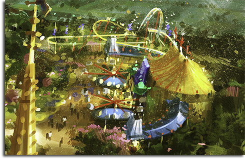 Closeup on the new Dumbo area in the Walt Disney World Fantasyland expansion rendering